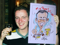 karikatuur van bierdrinkende jongeman